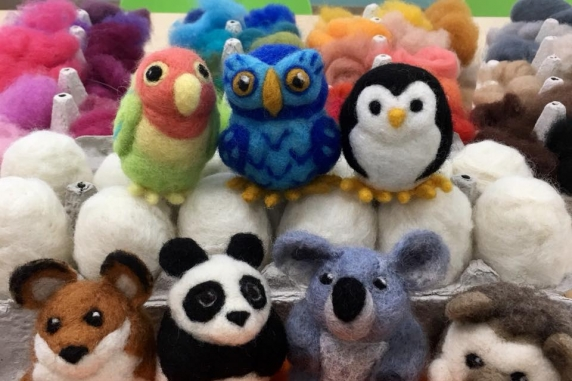 Adorable Needle Felted Creatures including fox, panda, koala, hedgehog, and bird