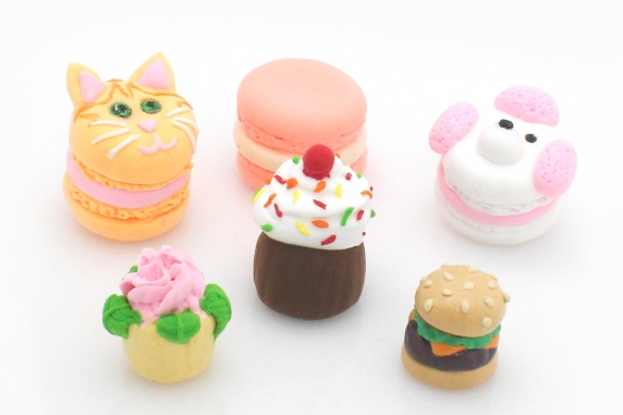Clay Macarons, Cupcakes, Burger, Kitty, Poodle