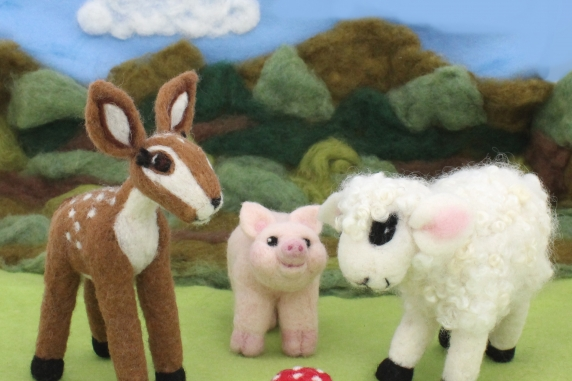 Needle Felted Fawn, Pig, Sheep, and Mushroom