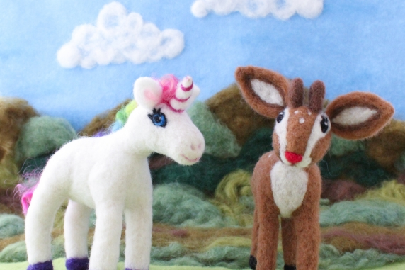 Needle Felted Unicorn and Fawn