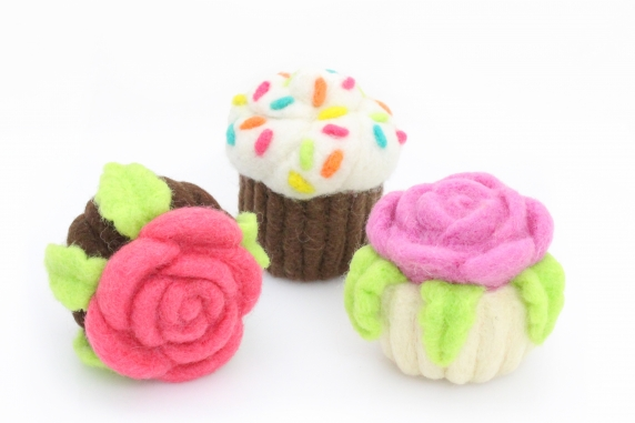Needle Felted Cupcakes with Sprinkles and Flowers
