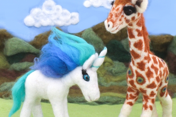 Felted Unicorn and Peacock Giraffe