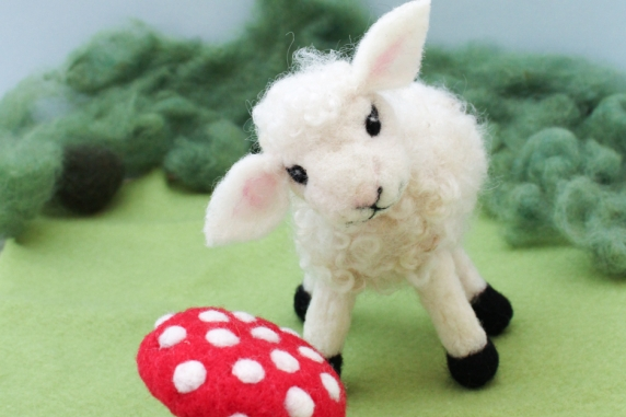 Needle Felted Lamb and Fairy Mushroom