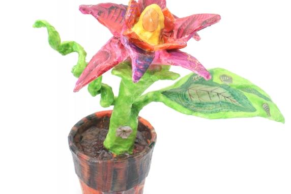 Paper Mâché Flower Pot Sculpture