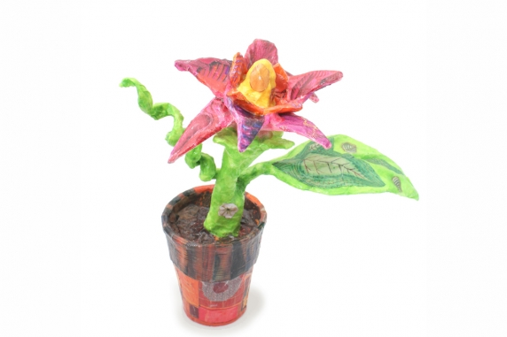 Paper Mâché flower Pot sculpture