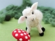 Needle Felted Lamb with Toadstool Mushroom
