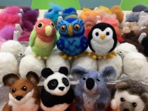 Adorable Needle Felted Creatures including fox, panda, koala, hedgehog, and bird