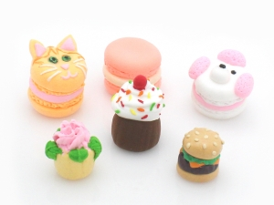 Sculpted Clay Foods, Macarons, Cupcakes, Cheeseburger