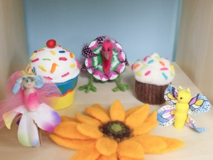 Paper mâché and needle felted cupcakes and other crafts