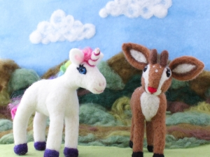 Needle Felted Fawn and Unicorn