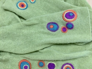 Needle Felted Surface Design on Sweater