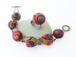 Orange Swirl Bracelet and Ring