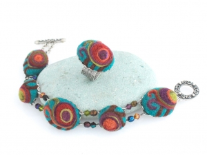 Teal Swirl Bracelet and Ring